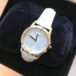 Pandora Black Crown Diamond Watch - Winter White Leather Band
